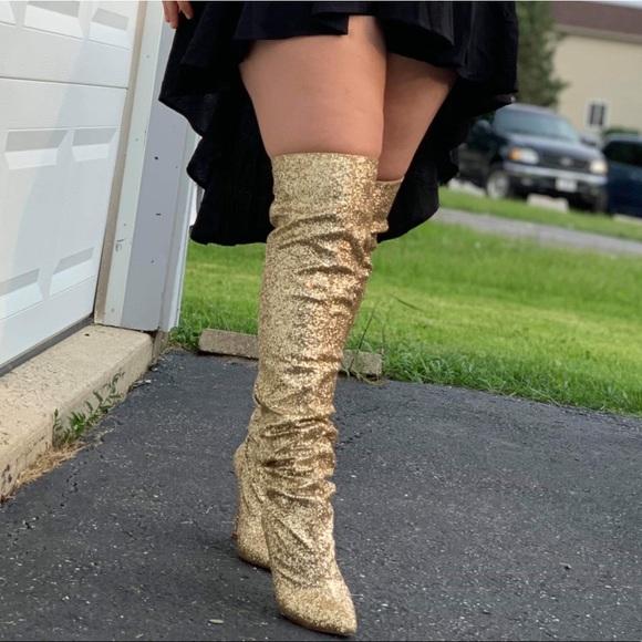 Gold Glitter Thigh High Heels | Poshmark